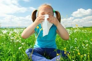 Девочка, сидящая в поле, собирается чихать