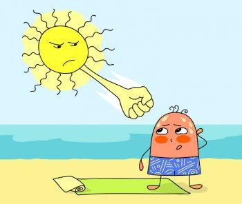 Солнце бьет красного человечка