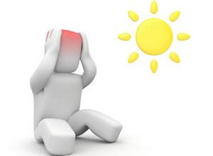 Человечек с красным свечением в голове и солнце