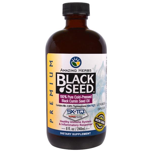 Amazing Herbs, Черный тмин, 100% чистое масло семян черного тмина холодного отжима, 8 жидких унций (236 мл)