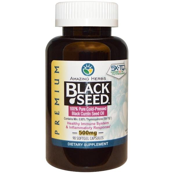 Amazing Herbs, Amazing Herbs, черный тмин, 500 мг, 90 желатиновых капсул