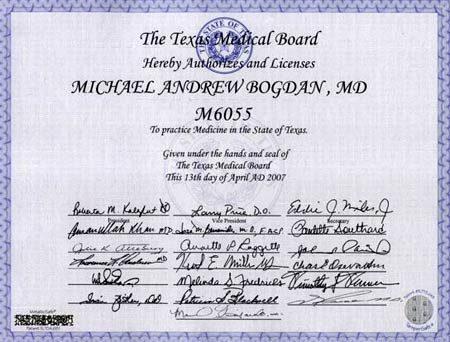 Медицинская лицензия врача