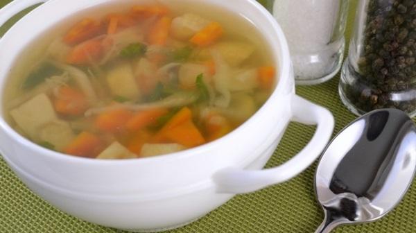 Тарелка супа и ложка